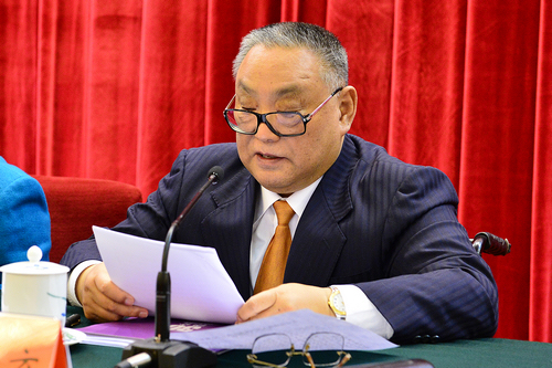 图为中国残联名誉主席、中国残疾人福利基金会会长邓朴方在纪念会上讲话