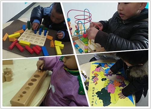 图为自闭症孩子使用蒙氏教具进行认知及手眼协调能力训练