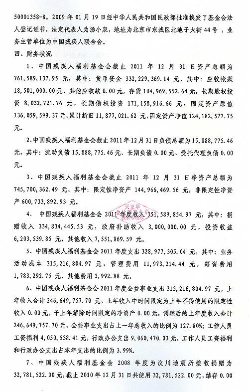 中国残疾人福利基金会2011年度审计报告