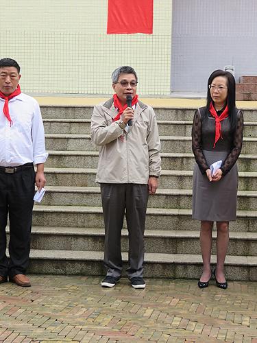 图为陈景昌副总经理在幼儿园竣工仪式上讲话